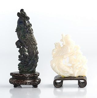 Coral and Lapis carved birds