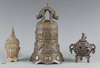 Asian bronze bell, censer, head