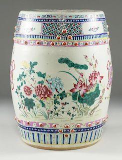 Famille Rose Porcelain Garden Seat