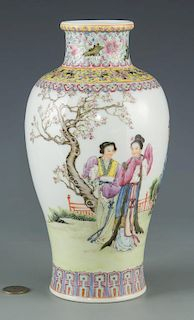 Famille Rose Rouleau Vase with Figural Decoration