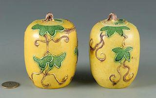 Pair Sancai Glazed Miniature Jars