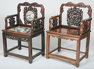 2 Chinese Carved Hardwood Chairs