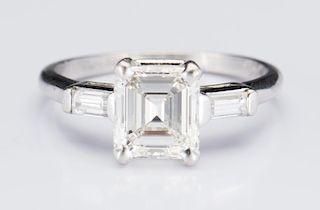 Plat 1.56 ct. Emerald Cut Diamond Ring
