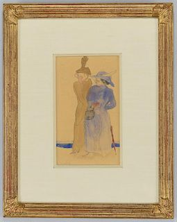 Charles Demuth watercolor, Two Women at Seashore