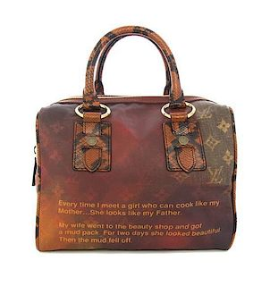 A Limited Edition Richard Prince for Louis Vuitton Mancrazy Jokes Bag, 11 1/2 x 10 x 10 inches.