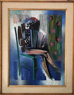 Vytautas Kasiulis Lithuanian French Impressionist Modern Accordionist