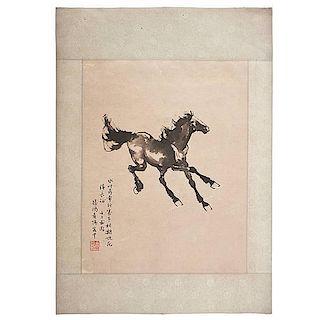Watercolor of Horse after Xu Beihong
