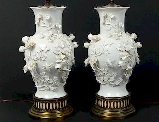 PAIR OF BLANC-DE-CHINE PORCELAIN LAMPS