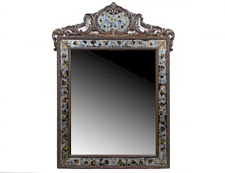 LOUIS XV STYLE REVERSE PAINTED WOOD MIRROR