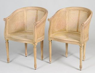 FOUR LOUIS XVI STYLE BLEACHED CANED TUB CHAIRS