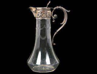 RUSSIAN SILVER MOUNTED GLASS CLARET JUG