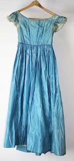 Mid-19Th C. Victorian Blue Satin Sleeveless Dress Edged In