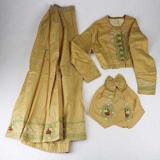 Mid-19Th C. Victorian Tan Wool Garbardine Two Part Dress
