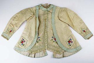 Mid-19Th C. Victorian Cream Wool Garbardine Child'S