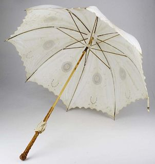Late 19Th C. Victorian Embroidered White Cotton Parasol
