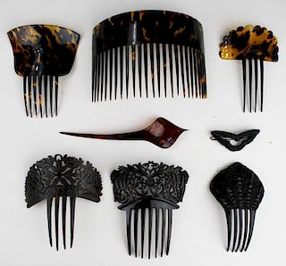 Mid-Late 19Th C. Victorian Tortoise Shell Tuck Combs And