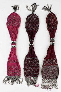 3 19Th C. Victorian Knitted Misers Purses