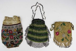 3 Mid 19Th C. Victorian Beaded Handbags Including