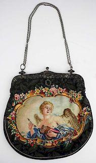 Ca. 1920 Floral Sterling Silver Frame Tapestry Handbag