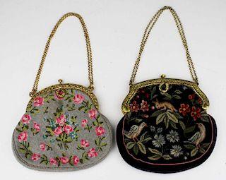 Two 1920'S  French Gilt Metal Frame Needlepoint Handbags