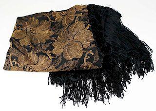 1920'S Black Long Fringed Shawl With Golden Metallic