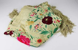 1920'S Yellow Long Fringed Shawl With Elabrorate