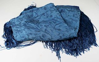 1920'S Blue Long Fringed Shawl With Blue Floral And Vine