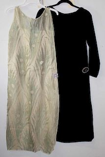 Two 1920'S Flapper Era Dresses With Brooch Side Clasps