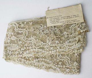"""18Th C. Lace Fragment """"Royal Lace Flounce Point D'Argentan"""""""