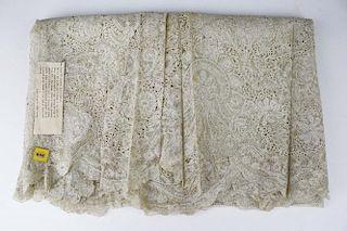 """18Th C. Lace Panel """"Louis Xv Flemish Lace Flounce"""""""