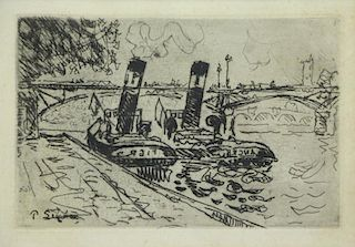"SIGNAC, Paul. Etching and Aquatint ""Paris: Le Pont"