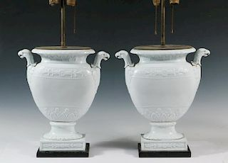 PAIR OF PORCELAIN URNS AS LAMPS