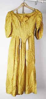 Mid-19Th C. Victorian Yellow Floral Damask Silk Dress