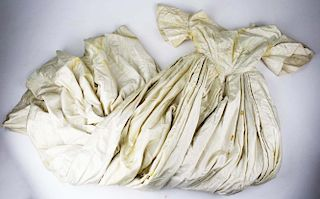 Mid-19Th C. Victorian Cream Colored Satin Dress With