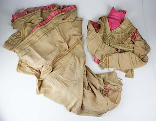 Elaborate 19Th C. Victorian Two Part Brown Satin Dress