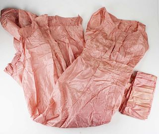 19Th C. Victorian Pink Satin Sleeveless Gown With Ruffled