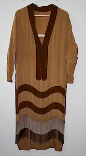 1920'S Brown And Tan Striped Silk Flappers Dress With