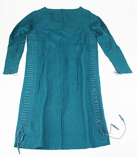 1920'S Teal Wool Flapper Era Dress With Cord Decoration
