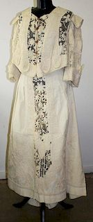 Ca. 1900 Victorian Embroidered Ribbed Cream Color Cotton
