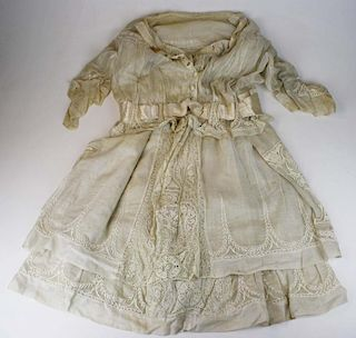 Ca. 1900 Victorian Off White Sheer Cotton Two Part Gown