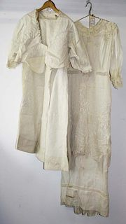 Two Ca. 1900 Victorian Off White Gowns With Satin Stitch