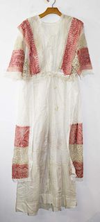 Ca. 1900 Victorian White Sheer Cotton Gown With Bruges