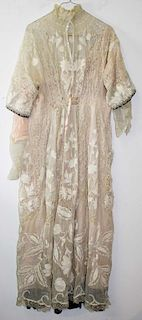 Ca. 1900 Victorian White Sheer Cotton Dress Inset With Lace