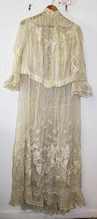Ca. 1900 Victorian White Sheer Cotton Collared Dress
