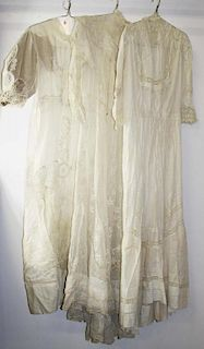 Three Ca. 1900 Victorian White Sheer Cotton Dresses