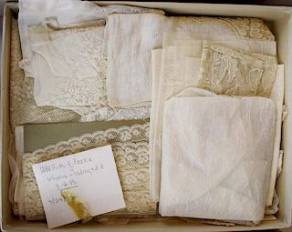Group Of Antique Lace Veils, Fragments And Cape
