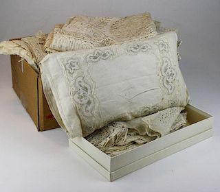 Lot Of Lace And Table Linens Incl. Crocheted Doilies And