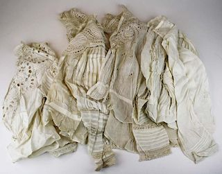 Lot Of Victorian White Clothing Articles Incl. 4 Elaborate