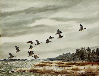 David Hagerbaumer (1921-2014) Canada Geese