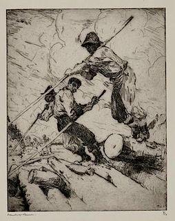 Frank W. Benson (1862-1951) The Log Jam